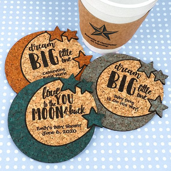 Baby Shower Favor Coasters, Personalized Baby Moon & Stars Shaped Cork Coasters - Set of 12