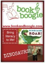 """""""Book & Boogie"""" - Dinosaurs!  Combining literacy with music and movement. Get your kids marching, stomping and roaring like dinosaurs!"""