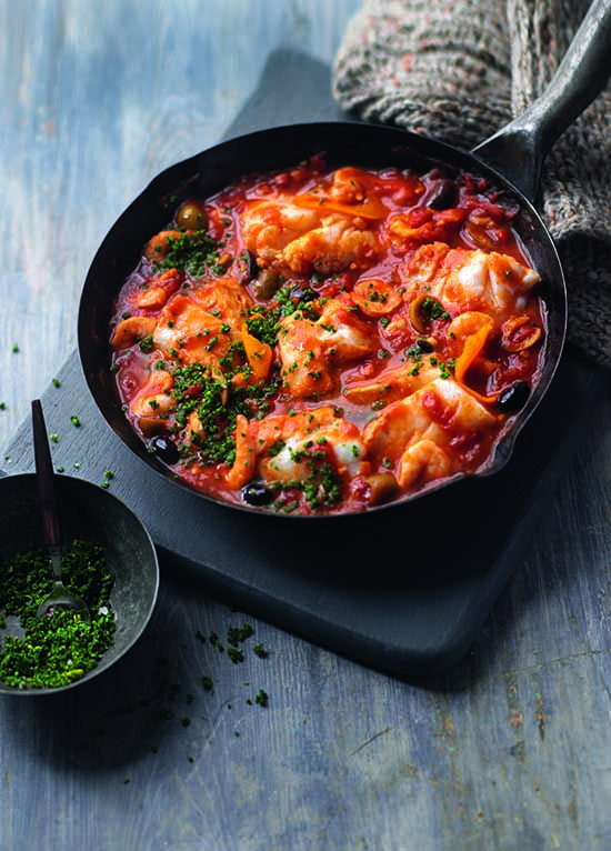 Med-style fish stew - We've used hake, but you could use any meaty fish or even squid rings.