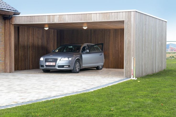 Moderne carport in hout.