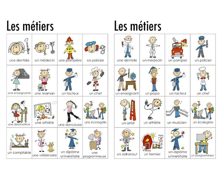 Image result for les metiers vocabulaire