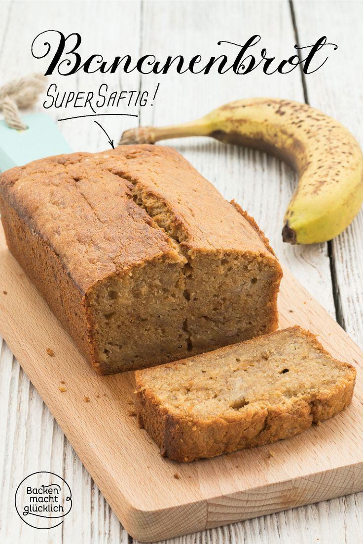 Dieses köstliche Banana Bread wird unglaublich saftig und schmeckt durch den braunen Zucker leicht nach Karamell. Bananenbrot ist die perfekte Resteverwertung für überreife Bananen! Wer mag, gibt noch Schoko- oder Nussstückchen in den Teig.