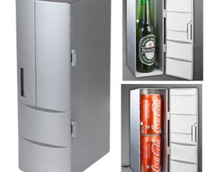 Never drink anything warm again with this handy little desktop fridge that can house two cans of liquid sugar or one big canister of liquid sugar.