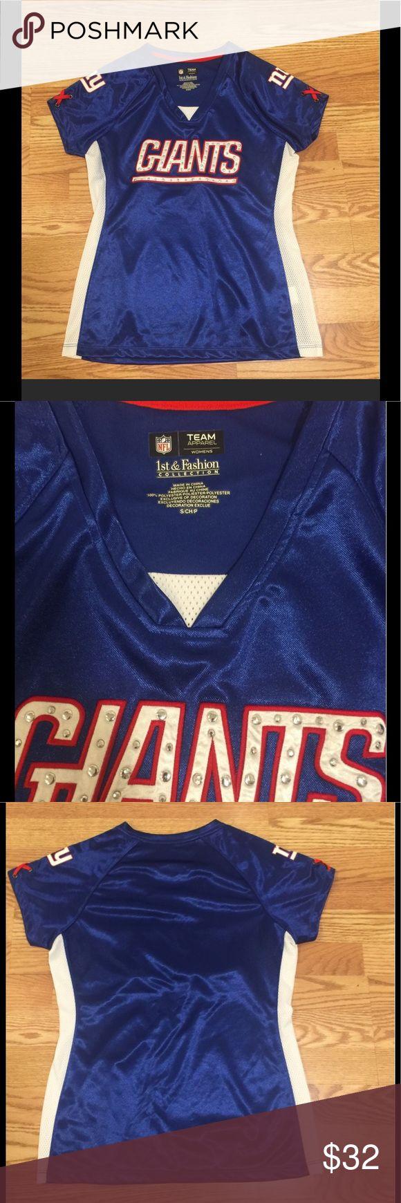 New York Giants jersey LN Size S New York Giants jersey. Metal stud embellished. NFL Tops