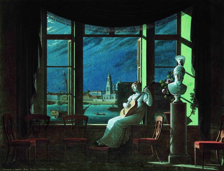 Count Fyodor Petrovich Tolstoy (1783 – 1873) By the Window. Moon Night, 1822, gouache, Tretyakov Gallery, Moscow