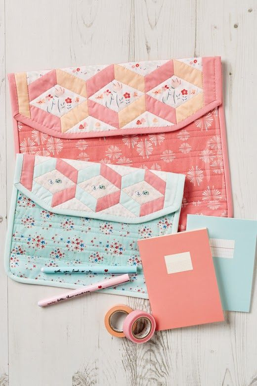 My latest design for Love Patchwork and Quilting magazine, issue 36.  Fun project envelopes with clear fronts to keep you and your sewing stuff organized! - Pretty by Hand