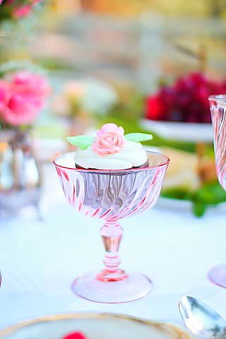 Bridal Shower Tea Table Setting Pink Coupe with dessert Cupcake   Gallery - Cheri's Vintage Table