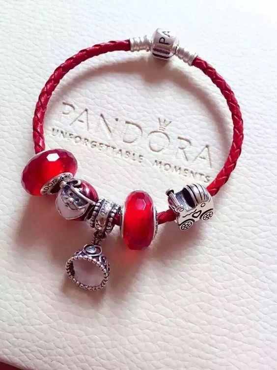 $159 Pandora Leather Charm Bracelet Red. Hot Sale!