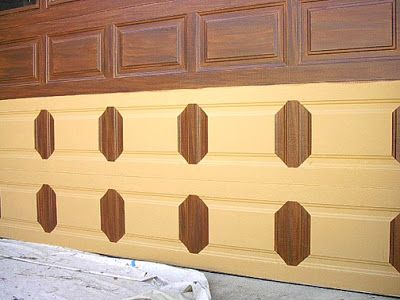 Garage door faux wood grained everything i create for How to paint garage door to look like wood