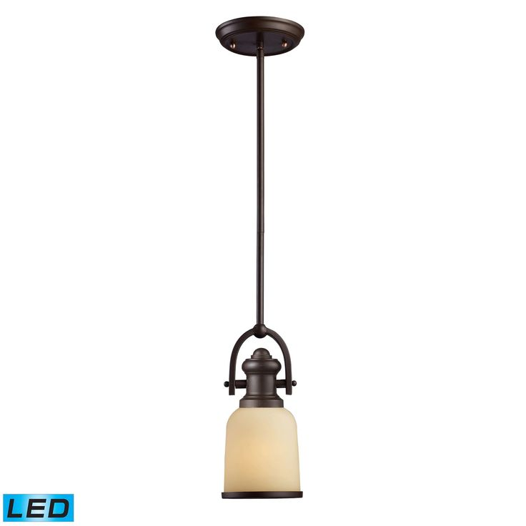Brooksdale 1 Light LED Mini Pendant In Oiled Bronze And Amber Glass 66171-1-LED