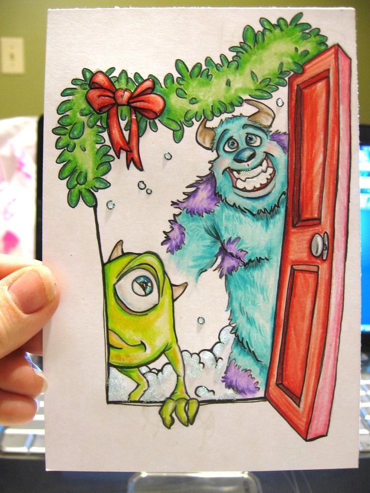 Christmas: Mike and Sully #art #disney #christmas #monstersinc