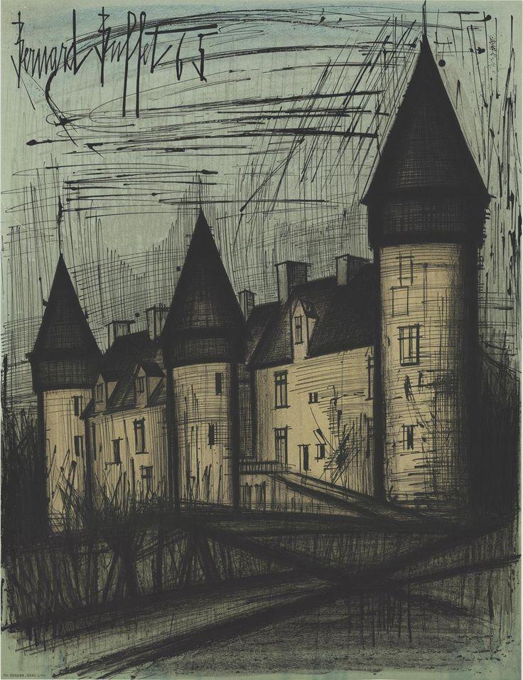 1965 Buffet Chateau de Culan Mourlot Lithograph