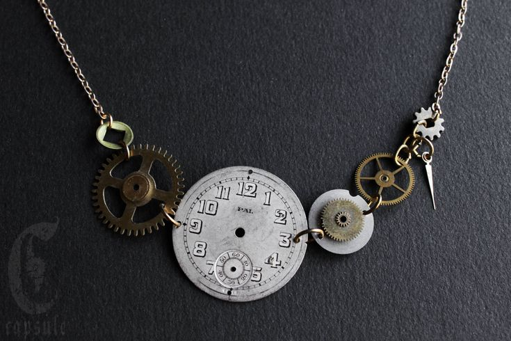 Steampunk Industrial Necklace with Brass Cogs, Dial and Hand from Antique Pocket Watch and Clock by CapsuleCreations on Etsy