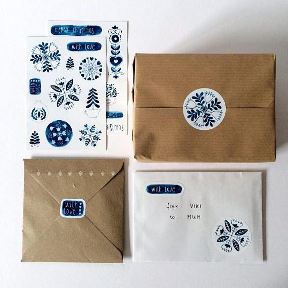 Indigo folk Christmas STICKERS  #folk #folkart #folklore #indigo #ink #indigoink #snowflake #acrylicink #painting #christmas #christmasstickers #stickers #stationery #christmasdecoration #christmasgift #gift #packaging #packagingdesign #etsy #etsyuk
