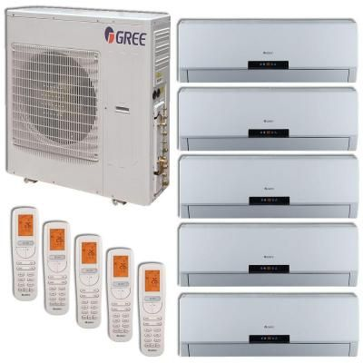 GREE +Multi Zone 42,000 BTU 3.5 Ton Ductless Mini Split Air Conditioner with Heat, Inverter, Remote - 208-230V/60Hz-MULTI42HP500 - The Home Depot