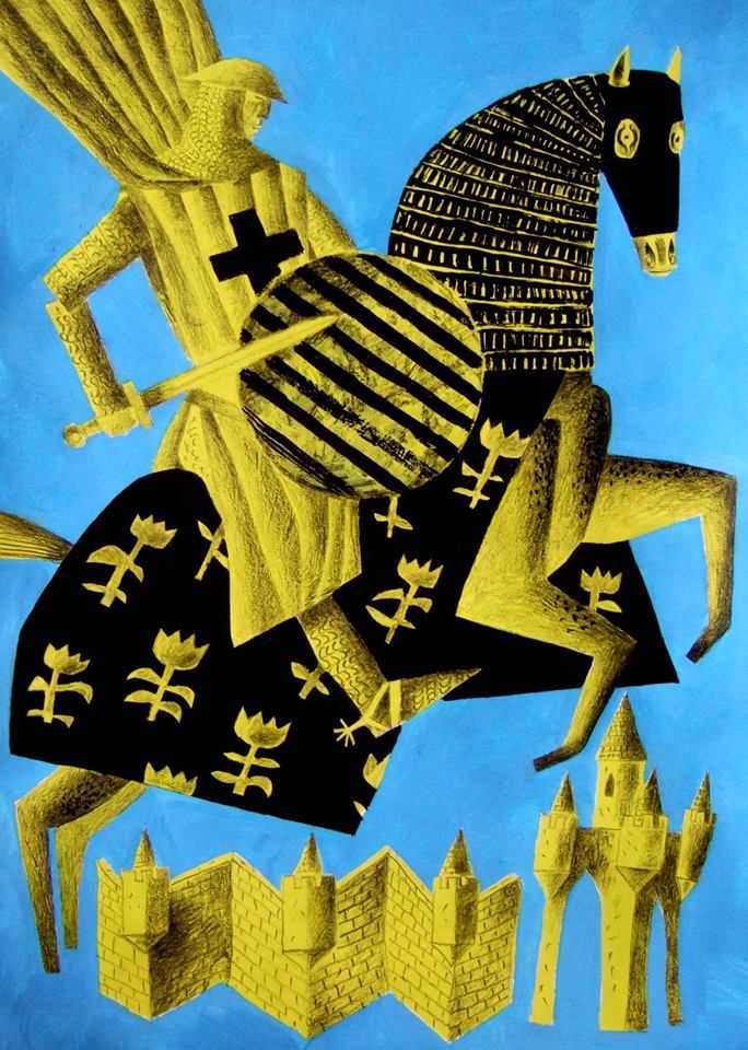 "Study of ""Sir Gawain"" by Clive Hicks-Jenkins for his series of prints on the medieval poem ""Sir Gawain & the Green Knight"""
