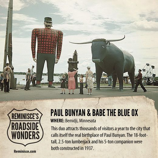 Road Trip America: Paul Bunyan & Babe the Blue Ox in Bemidji, Minnesota (c/o Reminisce magazine)