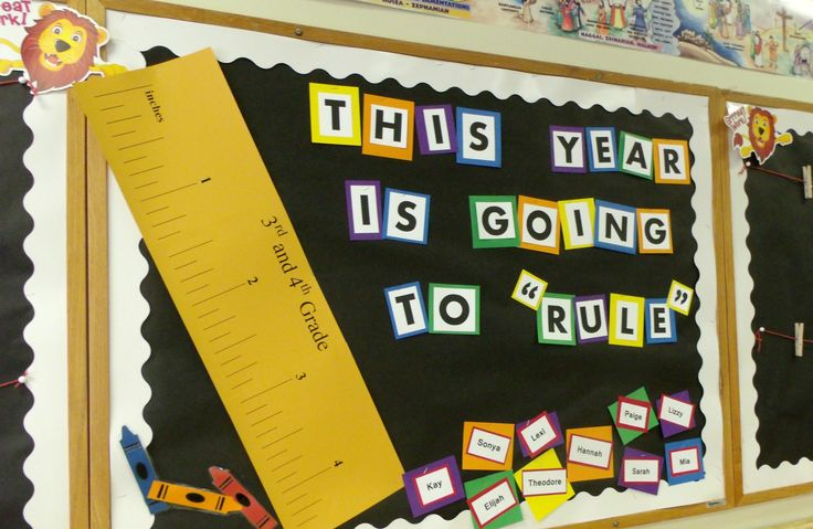 Elementary classroom bulletin board back to school d cor for Back to school board decoration