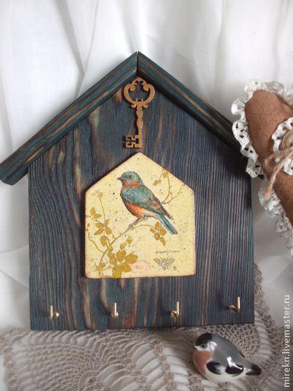 Ключница Птичка в домике декупаж (с золотым ключиком) - бирюзовый,желтый