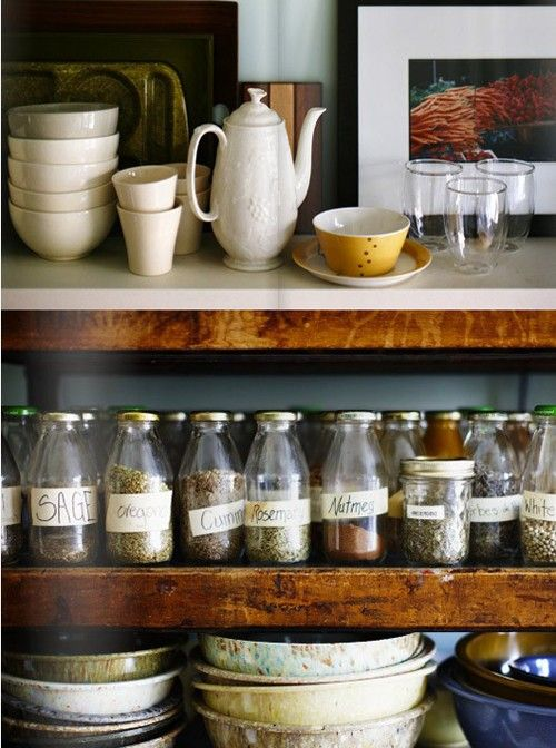 Think this is a really good idea for herb and spice storage, now just need to go and source lots of little jars!