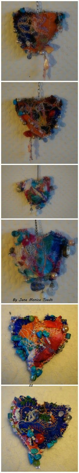 "Jane Monica Tvedt - Empire of heart: ""crazy quilting"" - Chakra crystal fiber heart -LOVE & Peace"
