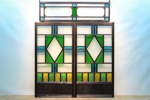 極上!! 大正浪漫!! 素晴らしい色ガラスが鮮やかなガラス戸セット F4698ab 在庫1組