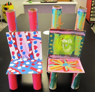 """Teddy Bear chairs: two paper towel rolls; four 1/2 paper towel rolls; two 7"""" squares of cardboard"""