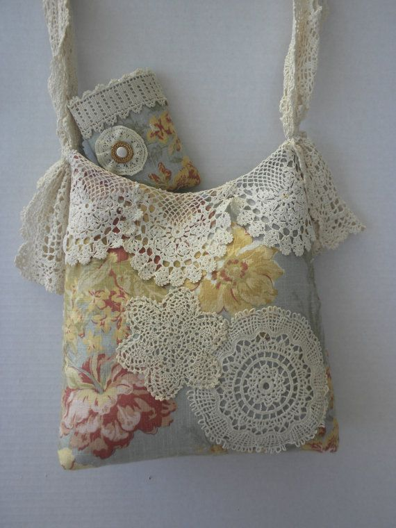 Vintage Blue and Cream Shabby Chic Handbag Purse by touchograce, $50.00