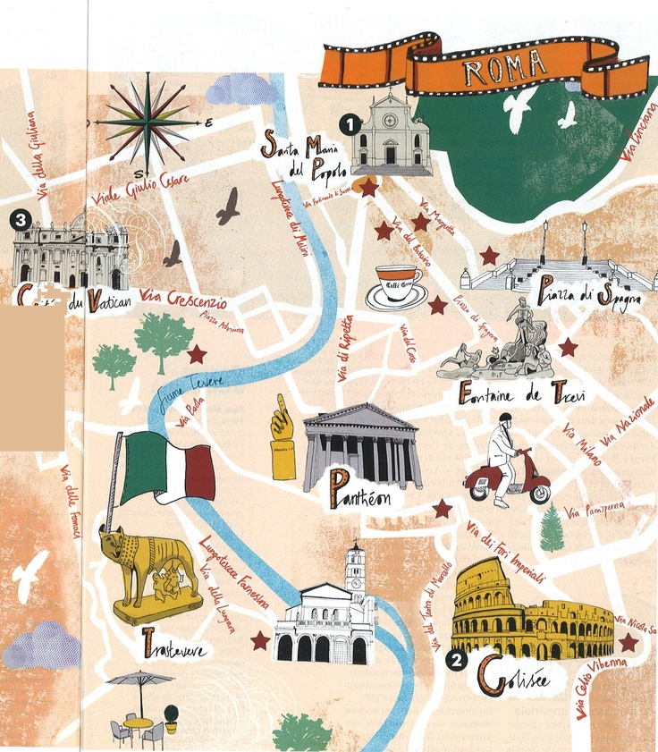 Rome map - artist unknown