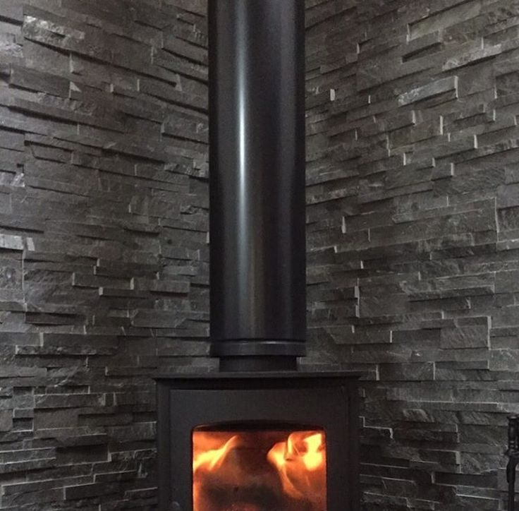 My actual wood burner and slate feature wall   supplied by Brick Clad in the UK.