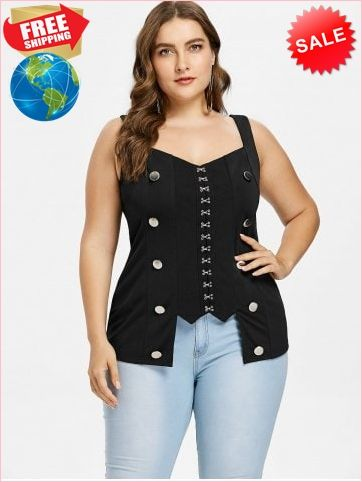 59db74e854 Best Prices Plus Size Button Embellished Gothic Tank Top 2285581  kCcpVhm4SDzF7JAiTKM2 Cheap Sale  RoseGal.com