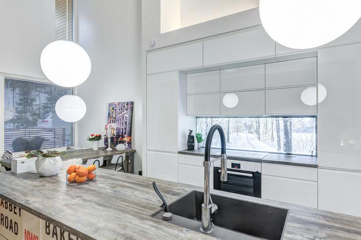 My Kitchen with virtual window (valaistu välitila) in Espoo, Finland