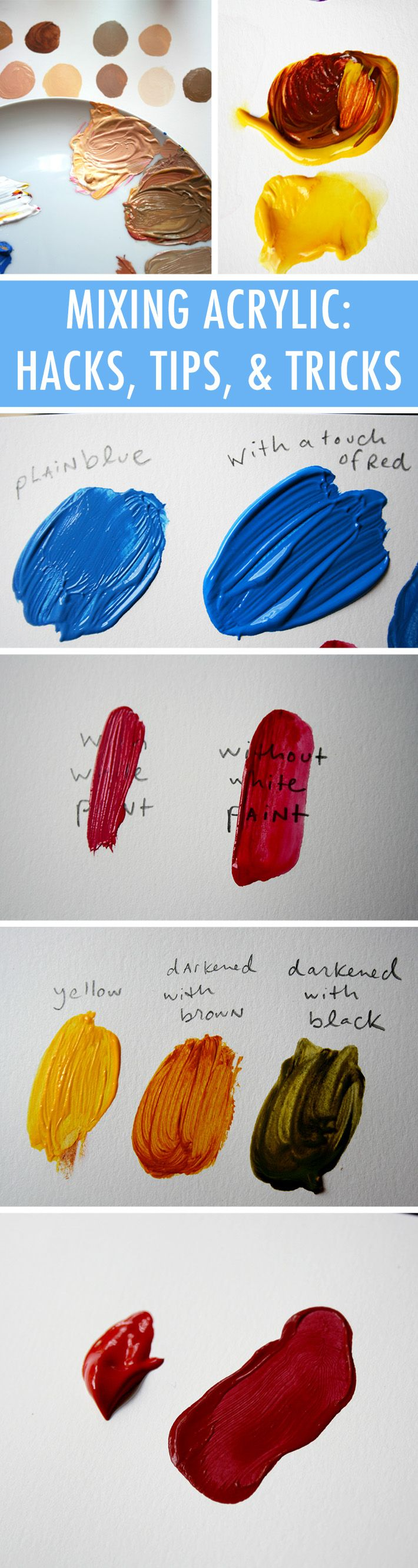11 Hacks on How to mix acrylic paint Remember : Your paint will dry slightly darker than it looks on your palette. Keep this in mind when mixing colors, and try to mix colors a shade or two lighter than you want for the final outcome. To test the finished color, you can use the same trick they do on top of room paint: Smudge a bit on paper to see how it dries.