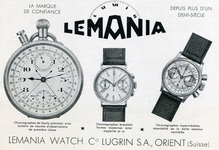 Vintage 1939 Lugrin SA Lemania Watch Co Switzerland 1930's Swiss Print Ad. #lugrin #lemania #swiss #watch #watches #vintage #ads #stawc