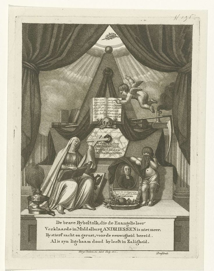 George Kockers | Allegorische compositie op de dood van predikant Andreas Andriessen, George Kockers, 1801 | Allegorische compositie op de dood van Andreas Andriessen, predikant en hoogleraar te Middelburg. Rechts op het grafmonument is zijn portret in een ovale omlijsting weergegeven, geflankeerd door een huilend kind en een biddende Maria met een bijbel en een kruis op haar schoot. Op het monument liggen onder andere boeken, een schedel, een zandloper een zeis. Onder de afbeelding een…