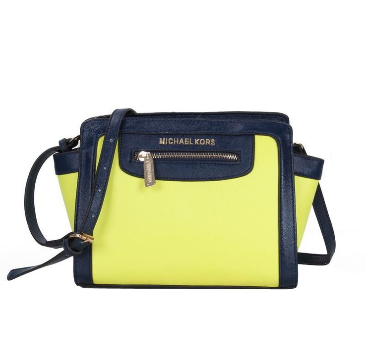 Michael Kors Selma Top-Zip Medium Yellow Crossbody Bags