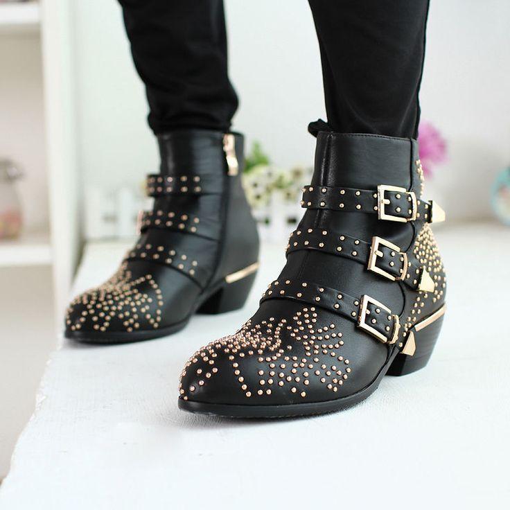 Rock Vintage Womens Leather Punk Studs Buckle Low Heels Ankle Cowboy Boots Shoes
