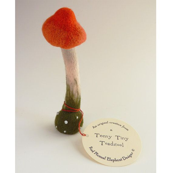 Teeny Tiny needle felted toadstool by redflannelelephant on Etsy
