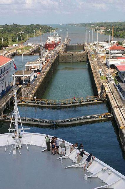 Leaving the Panama Canal through the Gatun Locks into the Caribbean.