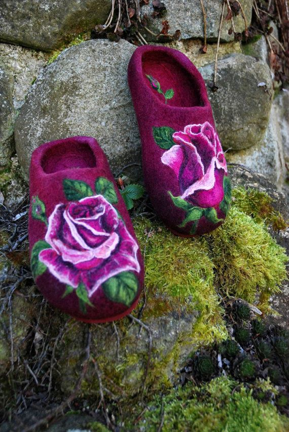 Felted Slippers Passion Roses EU size 40 ♥ by IrinaU on Etsy, $176.00