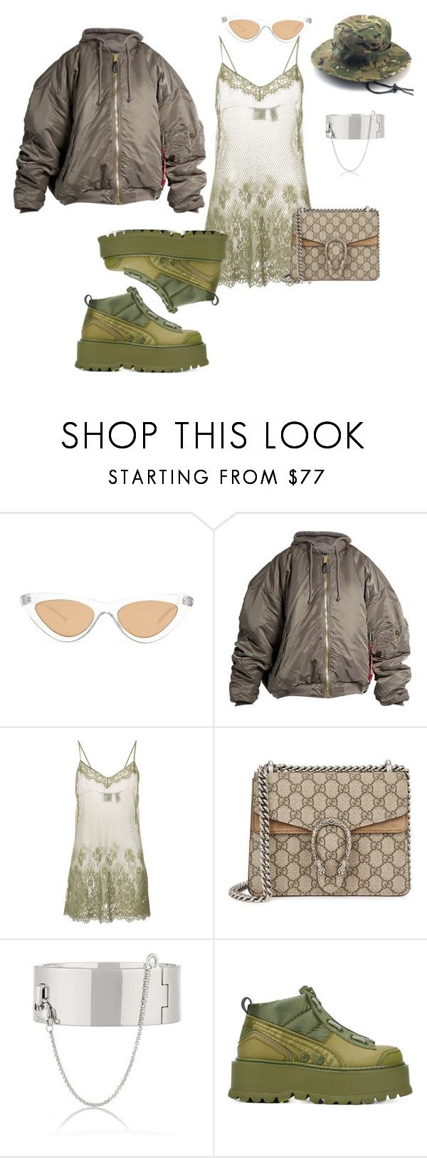 """""""Untitled #424"""" by yung-medusa5 ❤ liked on Polyvore featuring Le Specs, Vetements, Puma, Gucci and Eddie Borgo"""