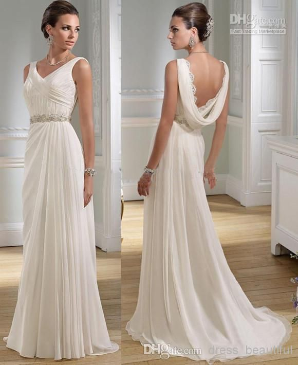 Sexy V-neck Greek A-line Chiffon Summer Wedding Dresses Granceful Nymph Crystals Beaded Bridal Gowns