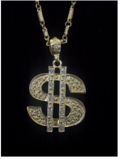 Gold Diamond Dollar Money Sign Necklace - Dollar, dollar bills yo! Feel like a gangster when you wear this dollar sign necklace.   This dollar sign necklace is a gold necklace with fake diamonds in the two lines. It has a unique chain and it is heavy.   Get your gangster groove on with this dollar sign. Great for Halloween, dressing up, plays or gold themed parties. #yyc #costume #jewelry