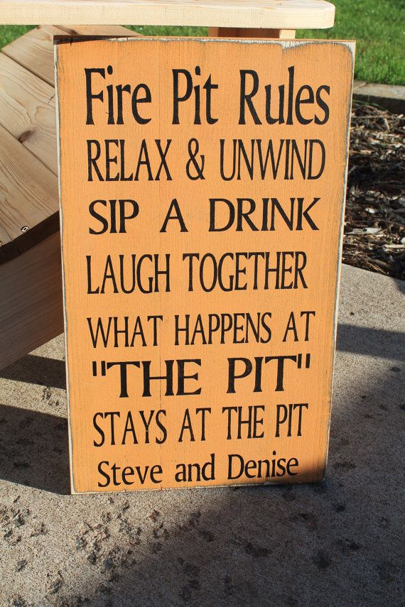Backyard Fire pit Rules Typography Word Art Sign 9x20 by Wildoaks