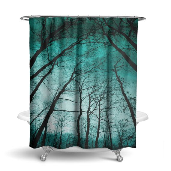 Night Forest Trees Teal Shower Curtain/ by KaliLainePrintShop