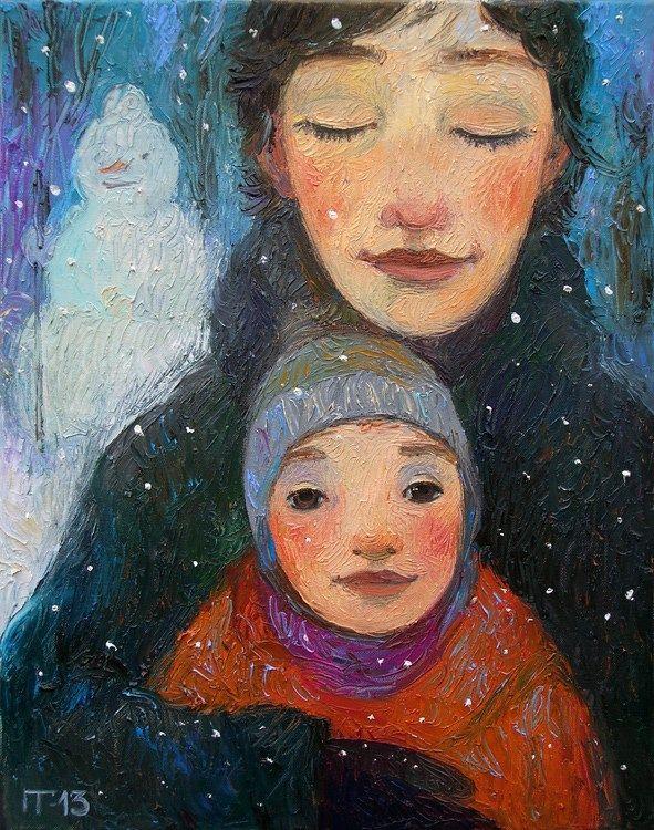 Galya Popova | schilderijen dromerige portretjes of herinneringen | uit Moskou | IROK galerie lijstenmakerij kunstuitleen