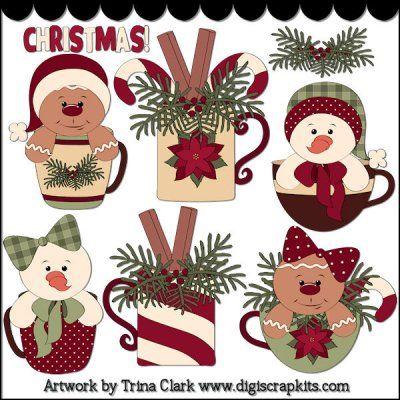 Trina Clark:: Christmas Cups 2 Clip Art