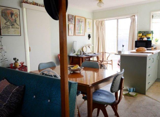 Vintage retro mid-century kitchen home decorating in a rental