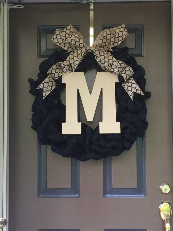 Front Door Initial Wreath front door decor by GBTButtonsNBows