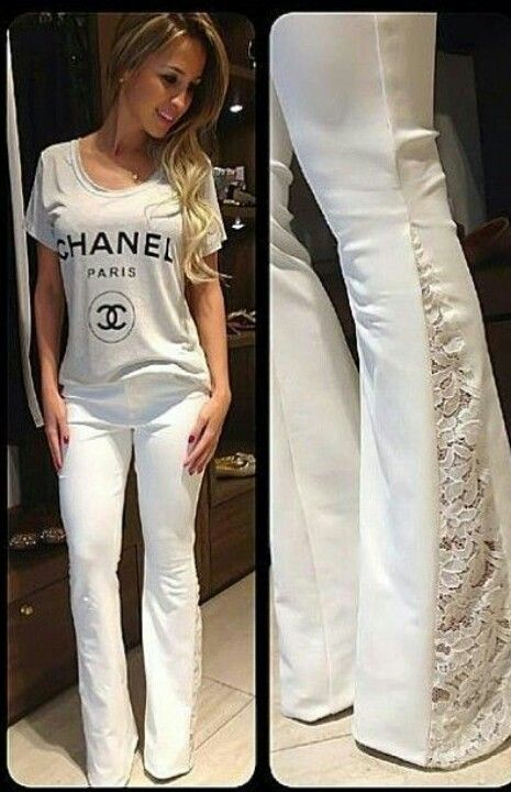 Using boot leg pants Sew lace into pant's legs. and create Lacey bell bottoms.